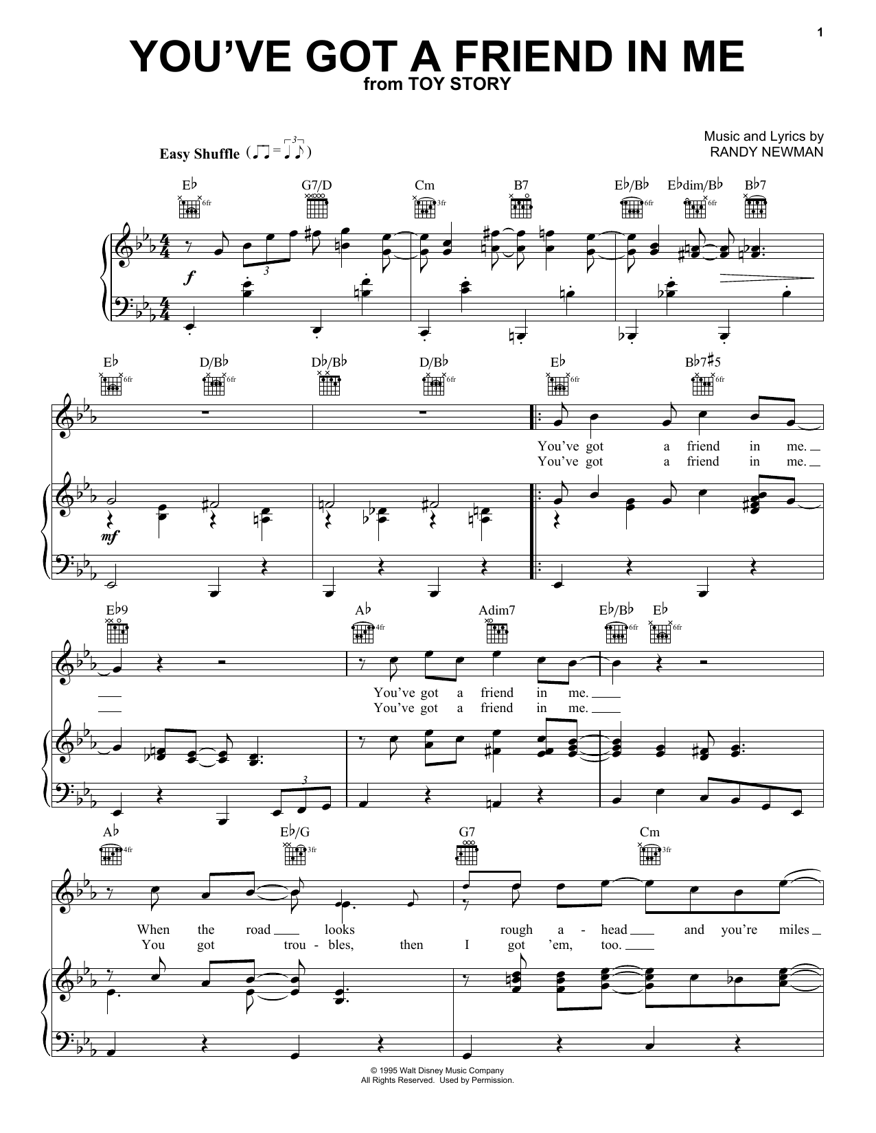 Randy Newman You've Got A Friend In Me (from Toy Story) sheet music notes printable PDF score