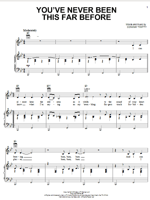 Conway Twitty You've Never Been This Far Before sheet music notes printable PDF score
