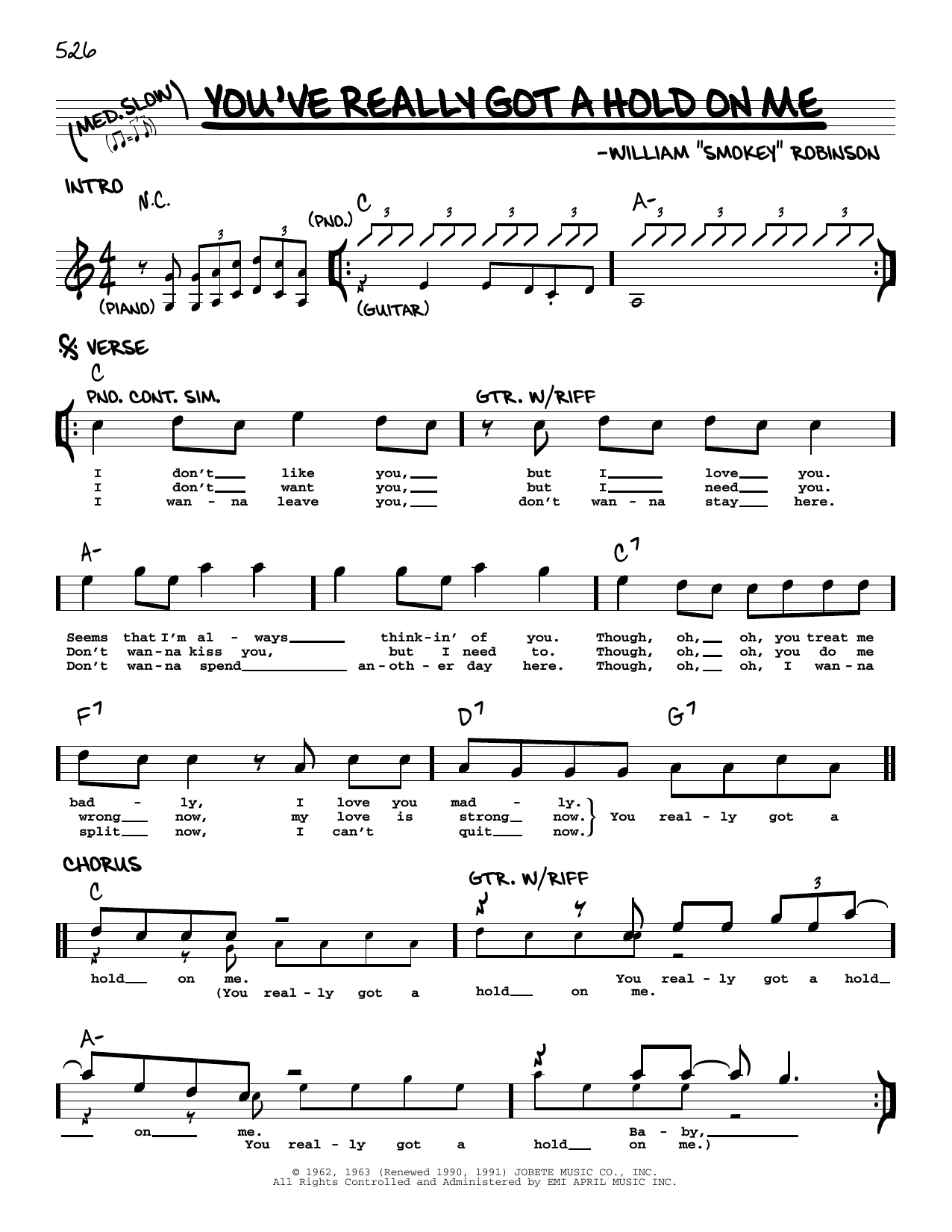 Smokey Robinson You've Really Got A Hold On Me sheet music notes printable PDF score