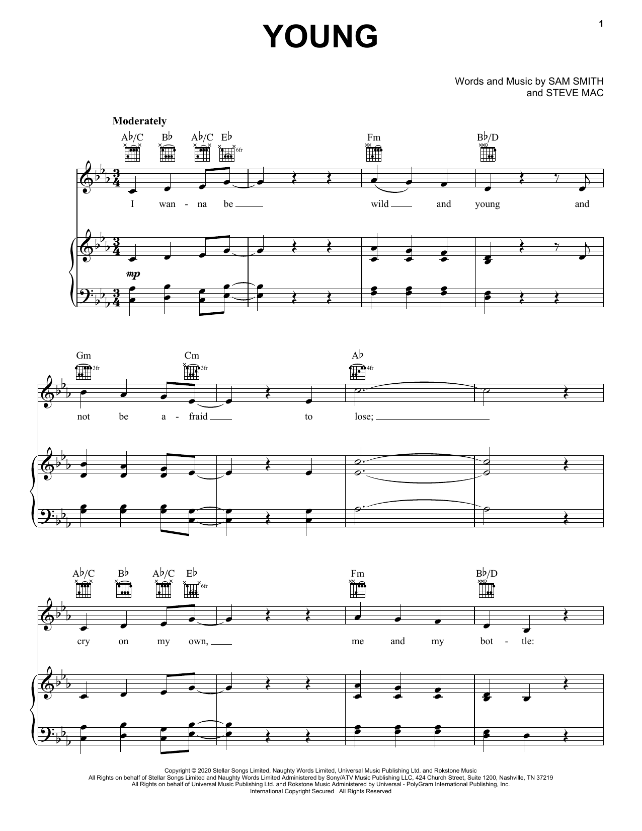 Sam Smith Young sheet music notes printable PDF score