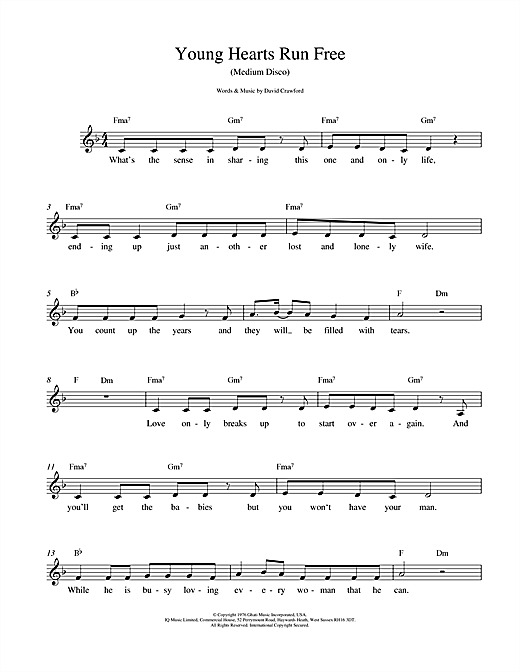 David Crawford Young Hearts Run Free sheet music notes printable PDF score