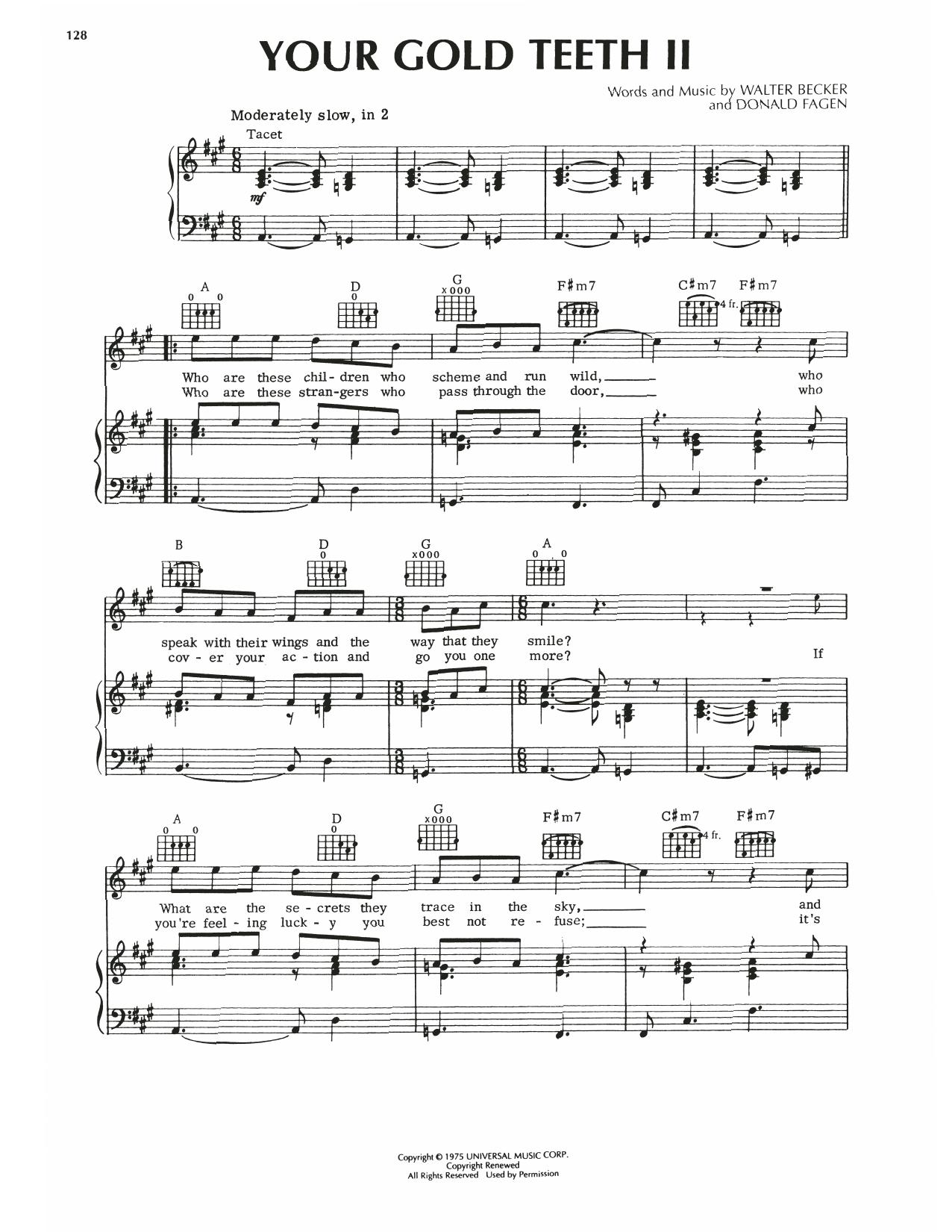 Steely Dan Your Gold Teeth II sheet music notes printable PDF score