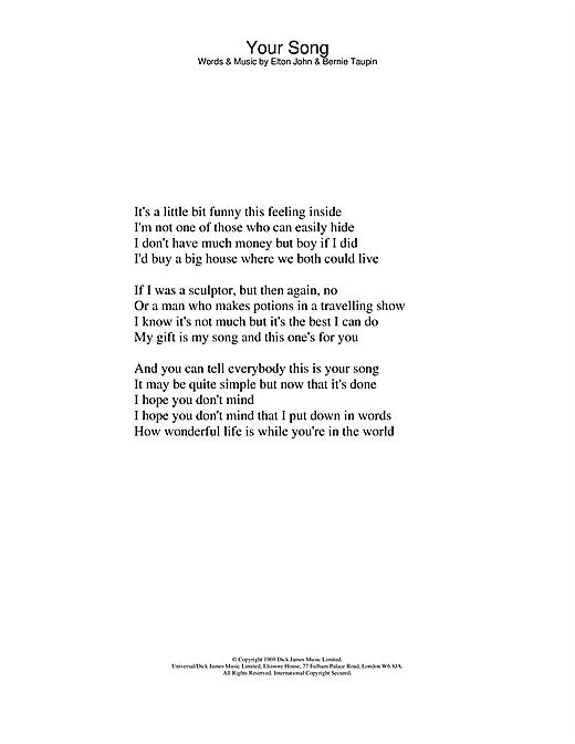 Elton John Your Song sheet music notes printable PDF score