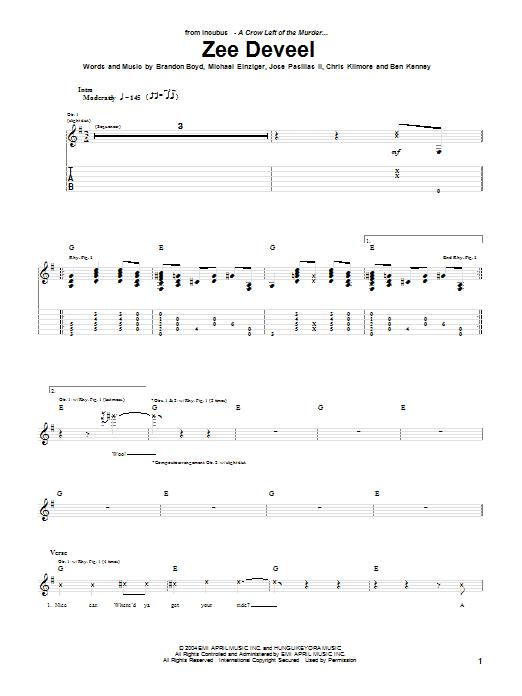 Incubus Zee Deveel sheet music notes printable PDF score